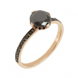 Solitaire ring Pink gold K18 with black color diamonds Code 004256