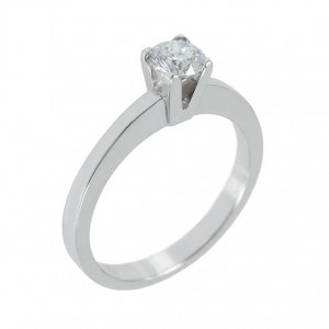 Solitaire ring White gold K18 with diamond Code 004394