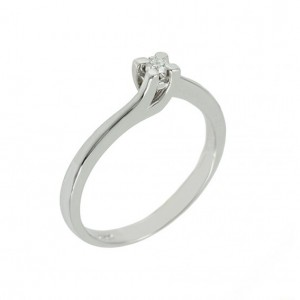 Solitaire ring White gold K18 with diamond Code 004412