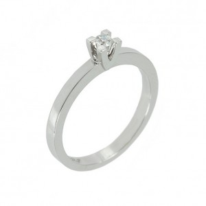 Solitaire ring White gold K18 with diamond Code 004413
