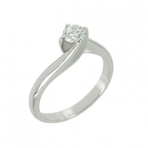 Solitaire ring White gold K18 with diamond Code 004421