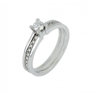 Solitaire ring White gold K18 with diamond Code 004448, set with eternity ring