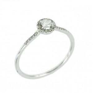 Solitaire ring White gold K18 Handmade with diamonds Code 004855