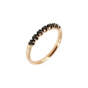 Diamond ring Pink gold K18 with black diamonds Code 005032