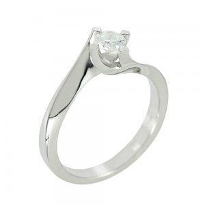 Solitaire ring White gold K18 with diamond Code 005556