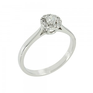 Solitaire ring White gold K18 with diamonds Code 005558