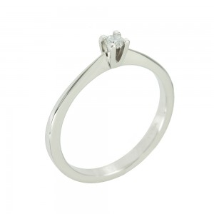 Solitaire ring White gold K18 with diamond Code 005559