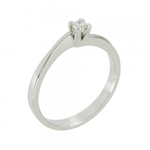 Solitaire ring White gold K18 with diamond Code 005561