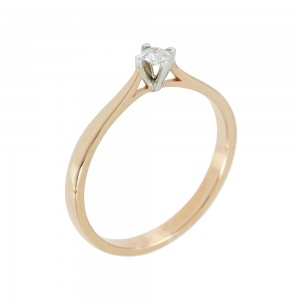 Bicolor Solitaire ring Pink and white gold K18 with diamond Code 005562