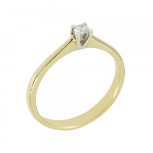 Bicolor Solitaire ring Yellow and white gold K18 with diamond Code 005563
