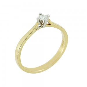 Bicolor Solitaire ring Yellow and white gold K18 with diamond Code 005564
