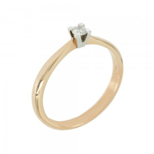 Bicolor Solitaire ring Pink and white gold K18 with diamond Code 005573