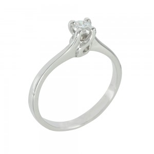 Solitaire ring White gold K18 with diamond Code 005574
