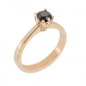 Solitaire ring White gold K18 with black color diamond Code 006417