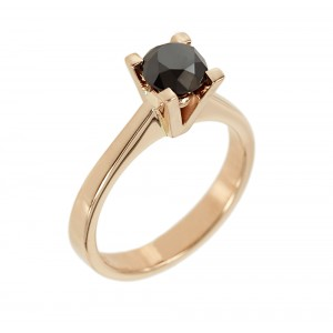 Solitaire ring Pink gold K18 with black color diamond Code 006418