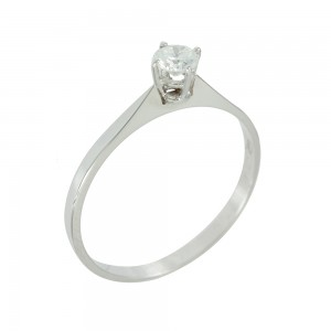 Solitaire ring White gold K18 with diamond Code 006473