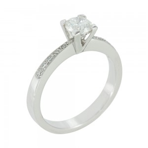 Solitaire ring White gold K18 with diamonds Code 006616