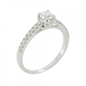 Solitaire ring White gold K18 with diamonds Code 006617