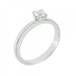 Solitaire ring White gold K18 with diamond Code 006618