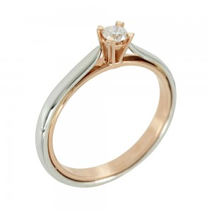 Bicolor Solitaire ring Pink and white gold K18 with diamond Code 006664