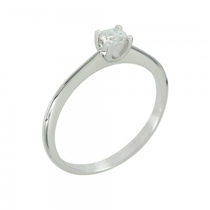 Solitaire ring White gold K18 with diamond Code 006689