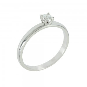 Solitaire ring White gold K18 with diamond Code 006690