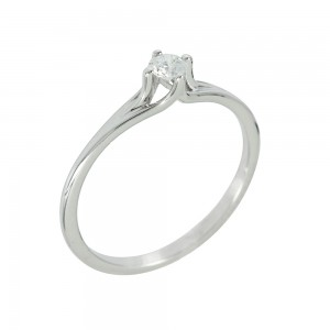 Solitaire ring White gold K18 with diamond Code 006691