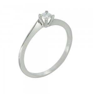 Solitaire ring White gold K18 with diamond Code 006692