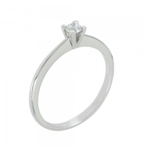 Solitaire ring White gold K18 with diamond Code 006693