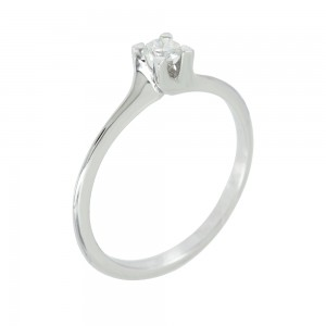 Solitaire ring White gold K18 with diamond Code 006694