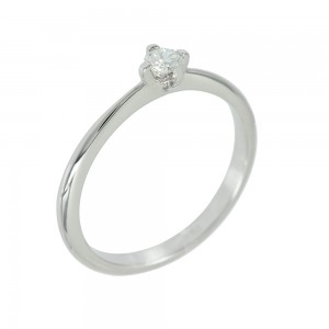Solitaire ring White gold K18 with diamond Code 006706