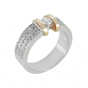 Diamond ring White and pink gold K18 Code 002362