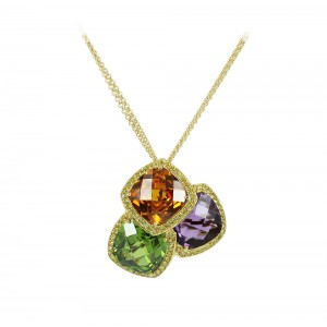 Diamond necklace Yellow gold K18 with Amethyst, Sitrin, and Peridot  Code 002927