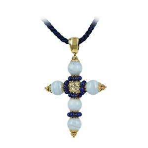 Woman's cross K18 with Lapis and Quartz 002929 Yellow gold