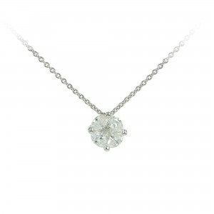 Diamond necklace White gold K18 Princess and Marquise cut code 003663