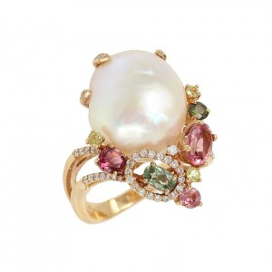 Diamond ring Pink gold K18 with Pearl, Diamonds and multicolor Τourmaline Code 003984