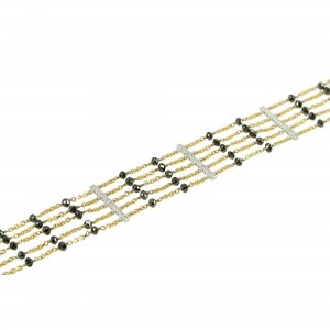 Bracelet White and yellow gold K18 with black and white color diamonds Code 004370