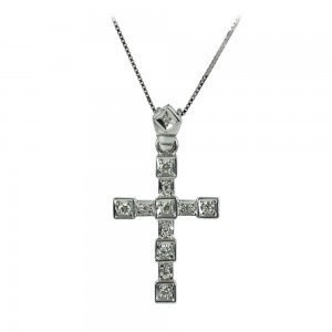 Woman's cross pendant  with chain, K18 with diamonds 005767 White gold