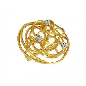 Diamond ring Yellow gold  K18 Code 005812