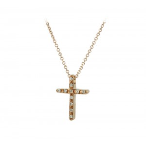 Cross with chain Pink gold K18 and diamond Brilliant cut Code 006180