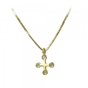 Woman's cross pendant  with chain, K18 and diamonds 006784 Yellow gold