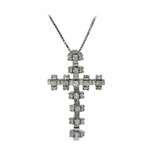 Woman's cross pendant  with chain, K18 with diamonds 006848 White gold