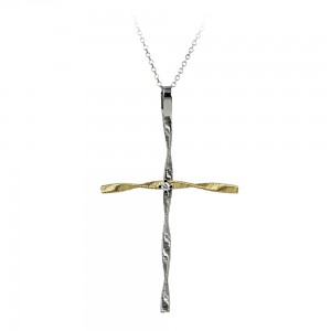 Woman's coss with chain ,K18 with diamond 006851 White and yellow gold
