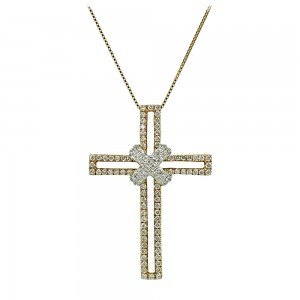 Woman's cross pendant  with chain, K18 and diamonds 006936 Yellow and white gold