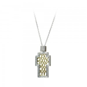 Cross with chain Yellowand white gold K18 and diamonds Brilliant cut Code 007026