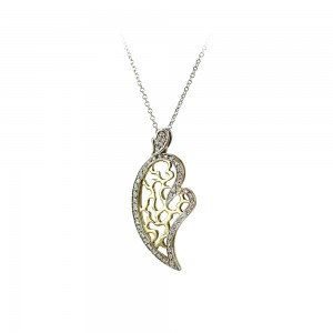 Diamond necklace Heart shape White and yellow gold K18  Brilliant cut Code 007027