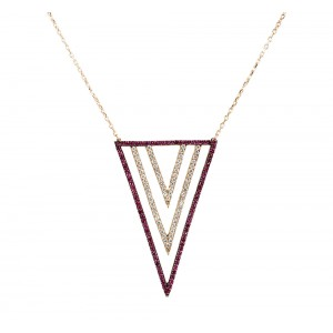Necklace of Silver 925 Pink gold plated Code 004869