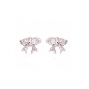 Earrings of Silver 925 White gold plated Code 004957