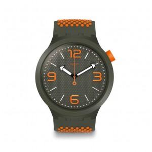 Swatch Big Bold SO27M101 Κhaki and orange Rubber Strap